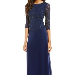 Alex Evenings Navy Sequined Lace and Chiffon dress